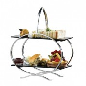 Cake Stand Stainless Steel and 2 Acrylic Inserts 29x14x36cm