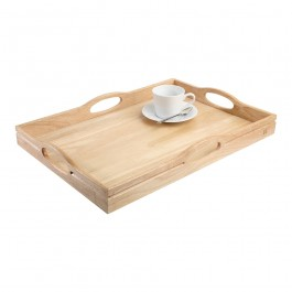 Tray Large With Four Handles Hevea 50 x 36 x 6.5cm (LxWxH)