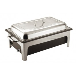 Chafing Unit Rectangular Lift Lid Stainless Steel Full Electric. Power Required: 240V Single phase. 840-1000W. Maximum Temperature: 85C. 66.5 x 38 x 24.5cm (LxWxH). 13.5 Litre