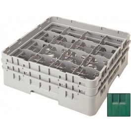 Glass Rack (H: 9cm) 16 compartments, Green