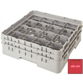 Glass Rack (H: 9cm) 16 compartments, Red