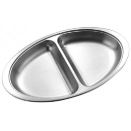 Banquet Dish Base  50.75cm - Stainless Steel, 2 Div, Oval
