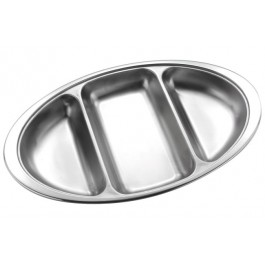 Vegetable Dish Base  35.5cm - Stainless Steel, Oval, 3 Divisions