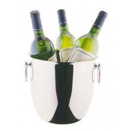 Wine Cooler 22cm Stainless Steel, Curved, Belly Shaped