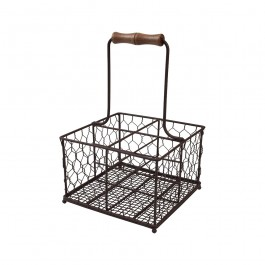 Provence 4 Bottle Holder in Rustic Brown Wireware 19.7 x 19.7 x 30cm (LxWxH)