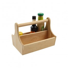 Counter Display/Table Tidy Hevea 2 Compartments and Bar Carry Handle 25 x 17.9 x 18cm (LxWxH)