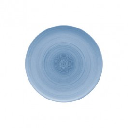 Modern Rustic Blue Flat Coupe Plate 32cm