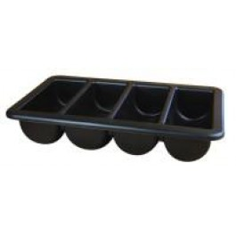 Cutlery Tray 53 x 32.5cm 4 Slot, Black Plastic
