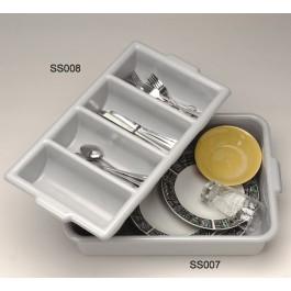 Cutlery Tray 4 Slot Grey Plastic 53.3 x 30.5 x 10.2cm