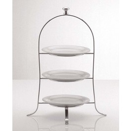 Cake Plate Stand With Round 49 X 24 5cm Silver Plated 3 Tier For Plates Up To 21cm