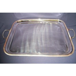 Tray 50.75cm Silver plated, Gadroon edge, Oblong Handled