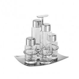 Linea Q Cruet Set 18.5x12.8cm 18/10 Stainless Steel, 4 piece