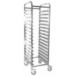 Clearing Trolley For 15 GN 1/1 Trays. 4 Swivel Wheels (All Braked). Supplied Flat Packed. 55 x 37.5 x 173cm (DxWxH)