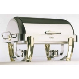 Elia Chafing Unit Rectangular Roll Top Stainless Steel With Solid Brass Legs. Includes Water Collector. 72 x 41.5 x 40cm (LxWxH).