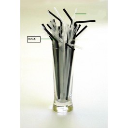 Black Flexi Straw 21cm, 5mm Bore (Pack of 250) DISCON