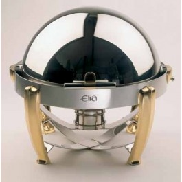 Elia Chafing Unit Round Roll Top. Stainless Steel With Solid Brass Legs. 46 x 43.6cm (Dia x H) 6.5 Litre