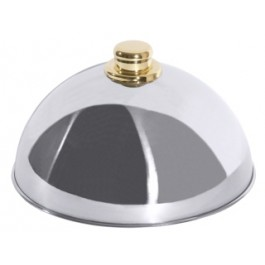 Cloche 25cm 18/10 Stainless Steel with Gold Coloured Knob and Reinforced Edge