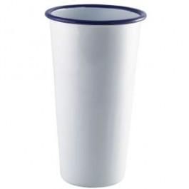 Enamel Jumbo Tumbler White with Blue Rim 80cl