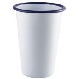 Enamel Tall Tumbler White with Blue Rim 40cl