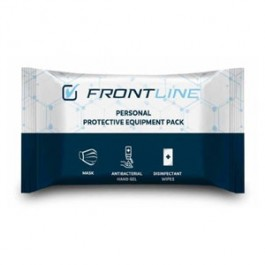 Frontline Personal Protective Equipment Pack.Individual Pack Size : 23 x 12 x 2.5 cm.2 Pcs Disposable Type II R Surgical Face Mask.50 ml Antibacterial Hand Gel 70% Alcohol.2 Pcs Disinfectant Wipe 70% Alcohol