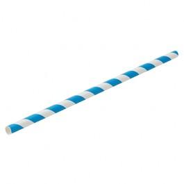 Paper Straw Blue Stripe (Box Of 250) 6mm Bore 20cm