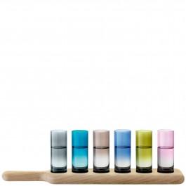 Shot Paddle Vodka Set & Oak Paddle 40cm Assorted Colours Includes 6 8cl Shot Glasses