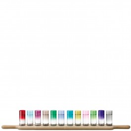 Shot Paddle Grand Vodka Set & Oak Paddle 77cm Assorted Colours Includes 12 8cl Shot Glasses