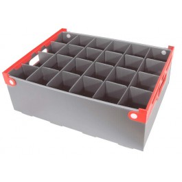 Glass Storage Crate (Red Handle) Cell: 8.2 x 8.2 x 16cm Holds 24 Glasses