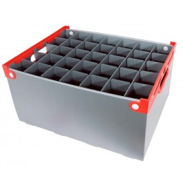 Glass Storage Crate (Red Handle) Cell: 6.4 x 6.4 x 24cm Holds 35 Glasses