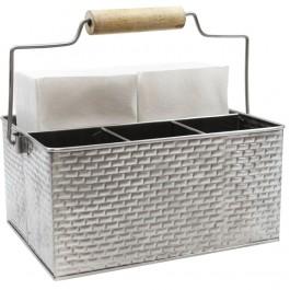 Brickhouse Collection Flatware Utensil Caddy Brick Pattern Stainless Steel 30.5 x 21.5 x 15cm