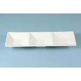 Oriental Range 3 Section Dish White, contemporary 23cm