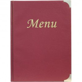 Classic Menu Holder Wine Red Fits 8 x A4 Paper