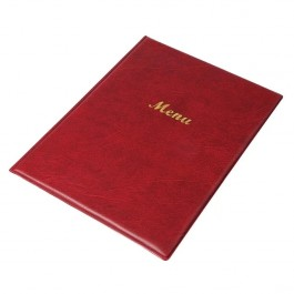 Olympia Menu Cover A4 PVC Burgundy. Padded Cover. Displays 2 Pages. Includes 2 Inbuilt Pockets. 31.5 x 23.5 x 11cm (HxWxD)