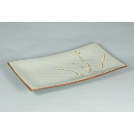 Oriental Range Oblong Plate Plum 33 x 20cm