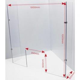 Sneeze Guard 100x100x30cm in 5mm sheet cut out 35x30cm