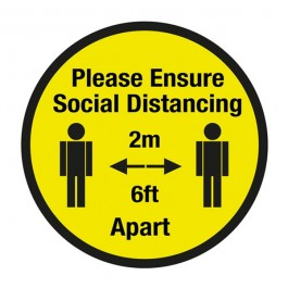 Please Ensure Social Distancing Floor Sign 20cm SD028