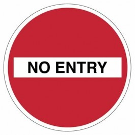 No Entry And Text Social Distancing Floor Sign 20cm SD161