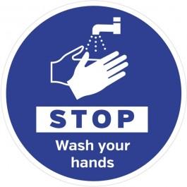 Stop Wash Your Hands Floor Sign 20cm SD122