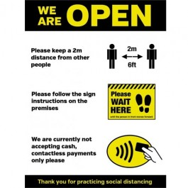 We are Open Social Distancing Sticker A3 SD098