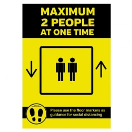 Maximum of 2 People allowed in Lift Sticker A3 SD156