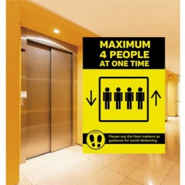 Maximum of 4 People allowed in Lift Sticker A4 SD158