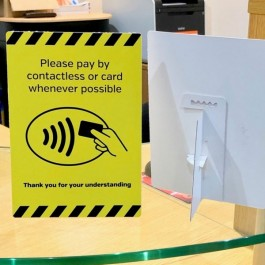 Card and Contactless Payment where possible Display A6 SD102