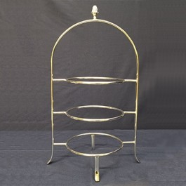 Cake Plate Stand With Acorn Knob 49 x 24.5cm Silver plated, 3 tier, for Plates up to 24cm