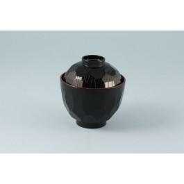 Oriental Range Bowl Black, with plastic lacquer lid 9.5cm