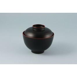 Oriental Range Bowl Black/Red, with lid, plastic laquer 11 x 10cm