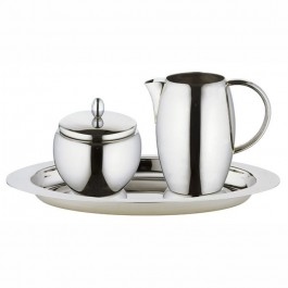 Perfect Pour Sugar & Creamer Set With Oval Tray 18/10 Stainless Steel