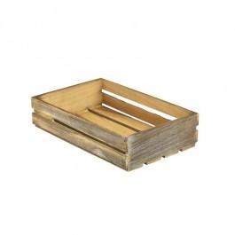 Dark Rustic Wooden Crate 35 x 23 x 8cm