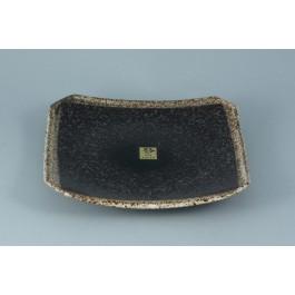 Oriental Range Square Plate Kosui, Speckled black 19cm