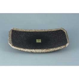Oriental Range Oblong Plate Kosui, Speckled black 22 x 15cm
