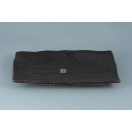 Oriental Range Oblong Plate Yuzu, black 28cm